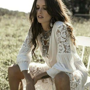 New Boho White Lace Maxi Kimono Duster Dress